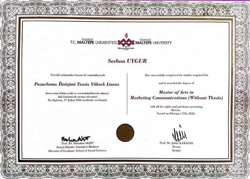 Serkan UYGUR Yüksek Lisans Diploma.jpg