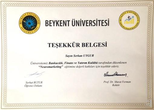Serkan UYGUR Beykent Üniversitesine Teşekkür Ederim.